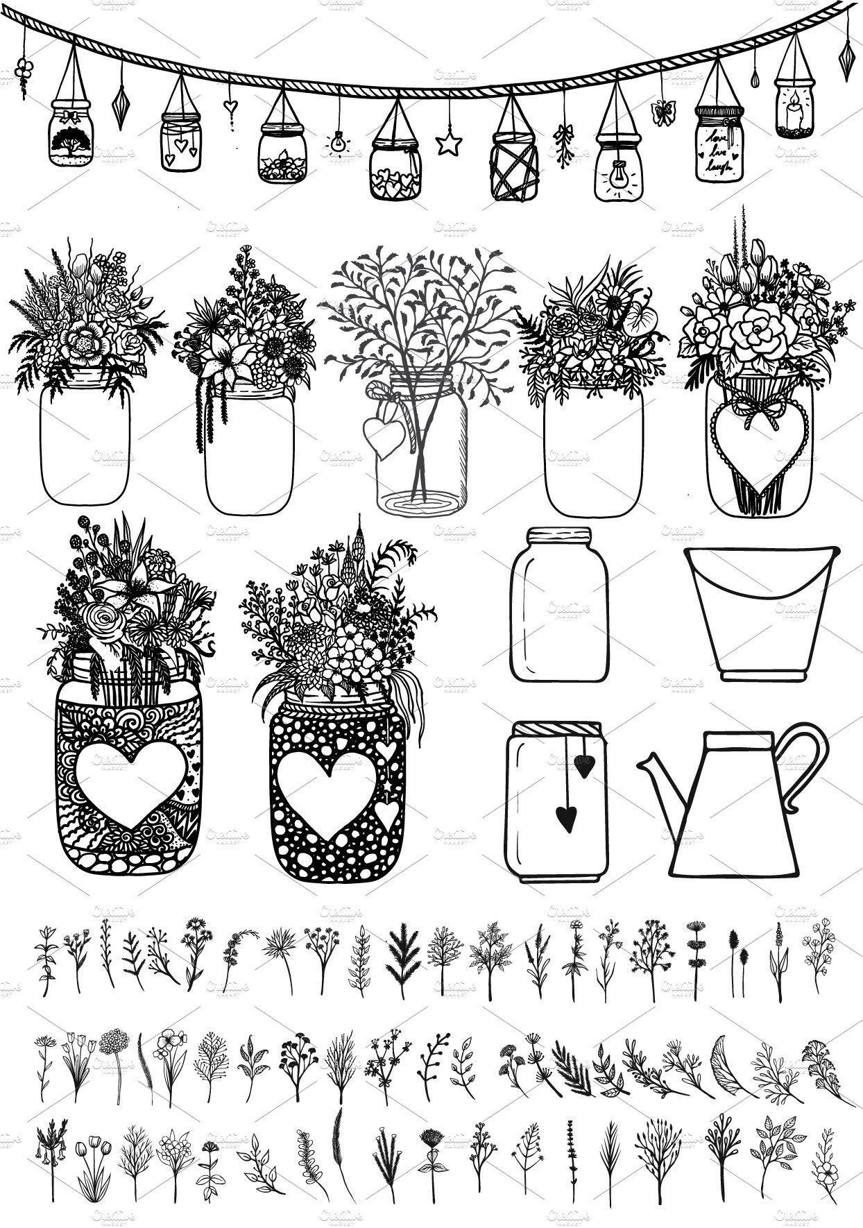 MARSON JARS and FLOWERS ~ Illustrations ~ Creative Market