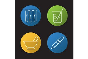 Chemical laboratory. 4 icons. Vector