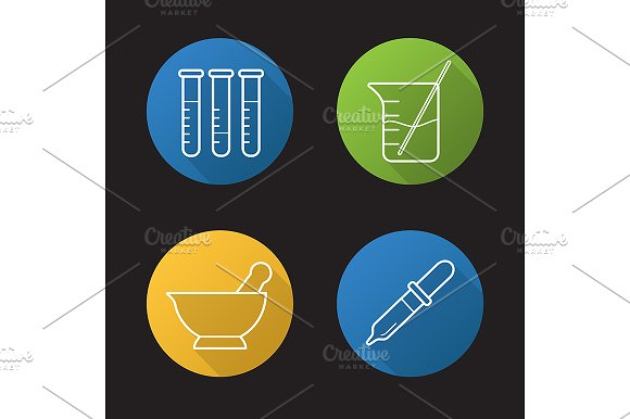 Chemical laboratory. 4 icons. Vector - Icons