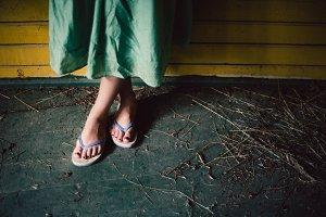 female feet in opened slippers