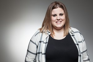overweight woman posing