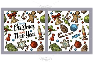Seamless pattern Christmas New Year