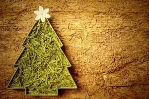 Hippie Christmas tree card.Copyspace