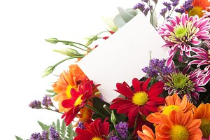 Flowers with blank card