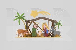 3d ilustration. Stable of Bethlehem.