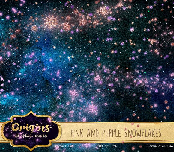 Pink And Purple Snowflakes Clipart