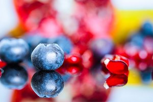 Detail bluberry with pomegranate