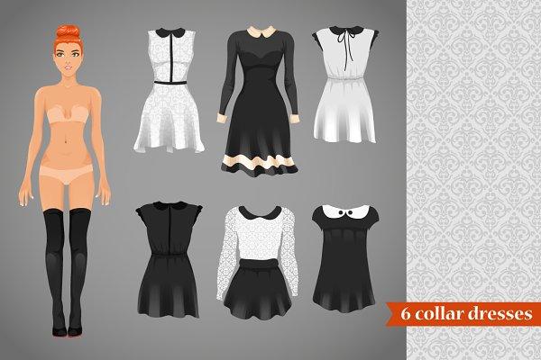 Vector contrast collar dresses
