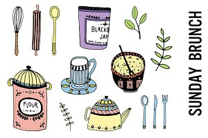 Brunch Clipart, Cooking Doodles