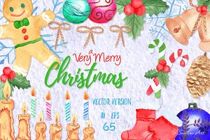Vector Watercolor Christmas Clip Art