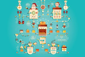 Illustration of Christmas factory