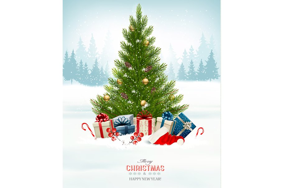 Christmas Tree And Presents Illustrations Creative Market