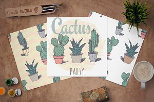 Succulents in pot print +2 patterns