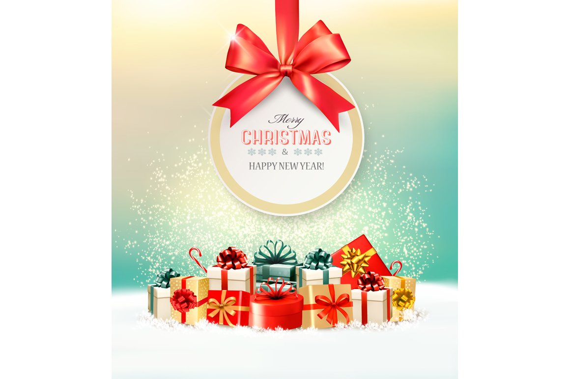 Christmas presents with a gift card ~ Illustrations ~ Creative Market