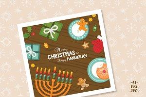 SALE 50% Christmas and Hanukkah card