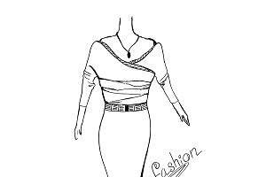 fashion concept, sketch, vector