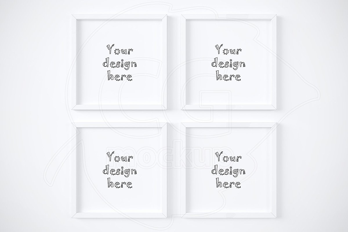 set of 4 square white frames mockup - White Square Frames