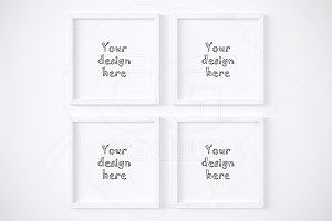 Set of 4 square white frames mockup