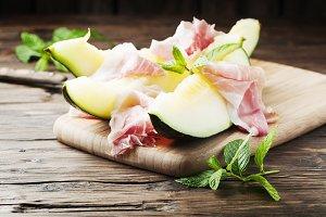 Fresh melon and spanish hamon
