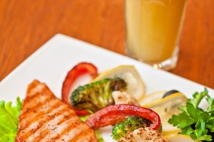 Tasty dish of salmon steak