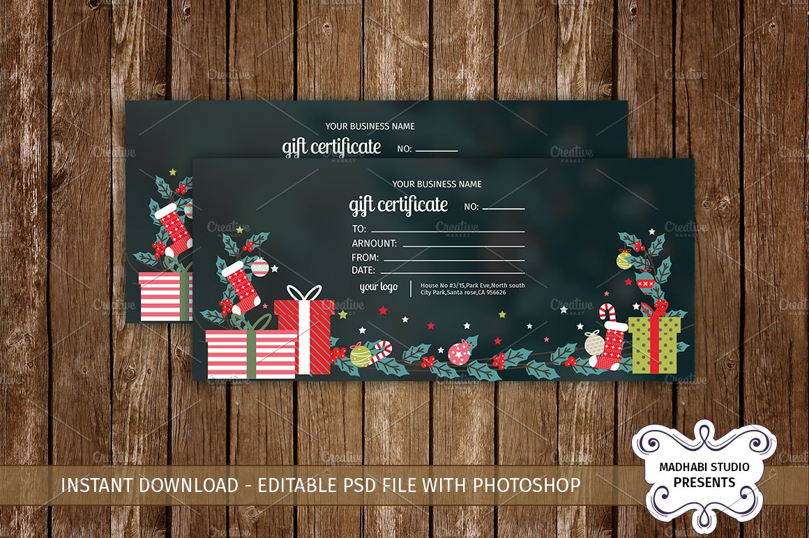 Fashion gift voucher card templates creative market gift certificate template yelopaper Images