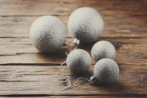 Christmas card with silver balls