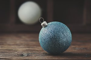 White and blue christmas balls