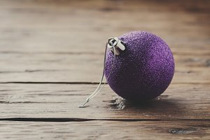 Christmas card with purple ball