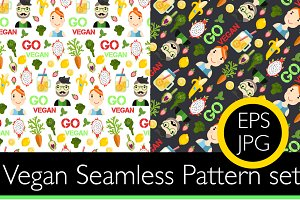 3 seamless pattern go vegan set