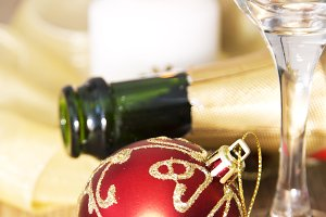 Bottle of champagne and Christmas decorations