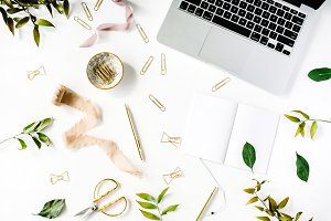 Trendy feminine workspace