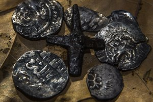 iron cross and coins