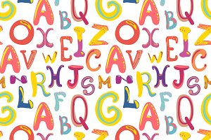 Handdrawn cute funky letters pattern