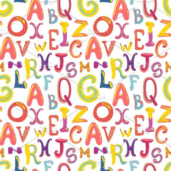 Handdrawn Cute Funky Letters Pattern