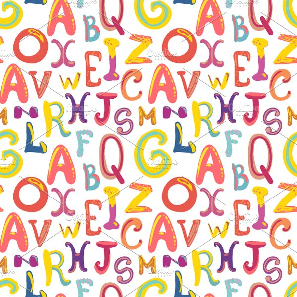 Handdrawn Cute Funky Letters Pattern Graphic Patterns Creative Market