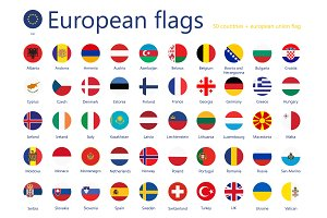 European country flags+UEFA