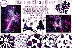 Watercolor Purple Galaxy Collection