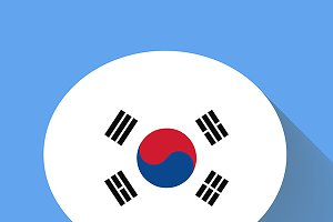 Speech bubble with Korea flag