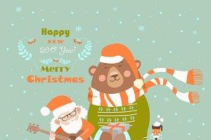 Santa playing guitar for the bear