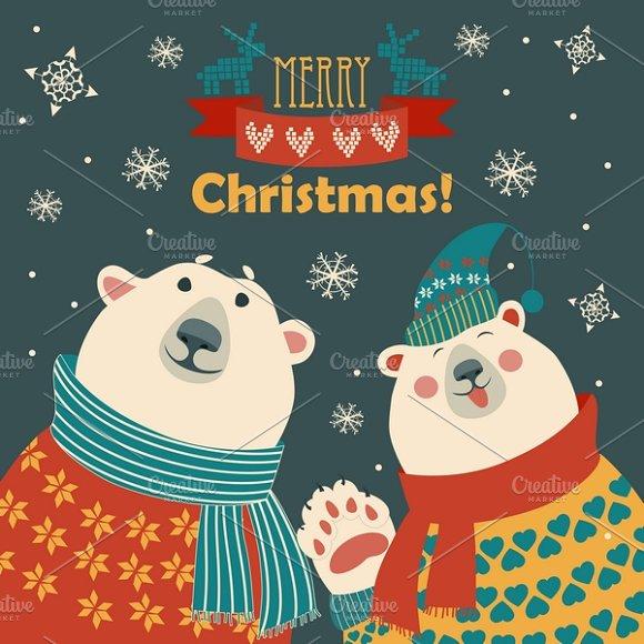 two friendspolar bears saying hello illustrations
