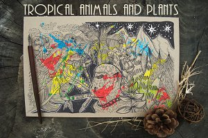 Coloring tropical animals, plants.