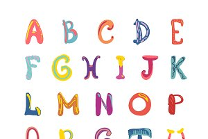 Hand-drawn cute funky alphabet