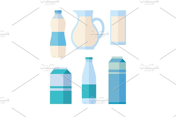 Traditional Dairy Products from Milk in Illustrations
