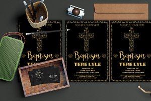 Gold Foil Baptism Invitation
