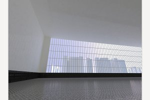 White open space 3D rendering