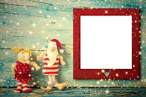 Christmas photo frame card.Copyspace