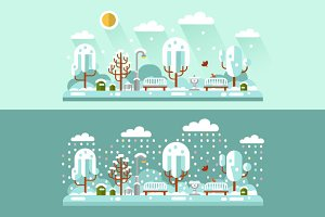 Winter Day & Night Vector