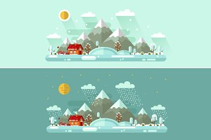 Day & Night Winter Landscape