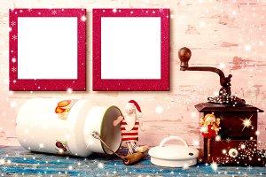 Christmas two blank photo frame card