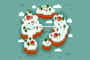 Winter Countryside 3D Vector